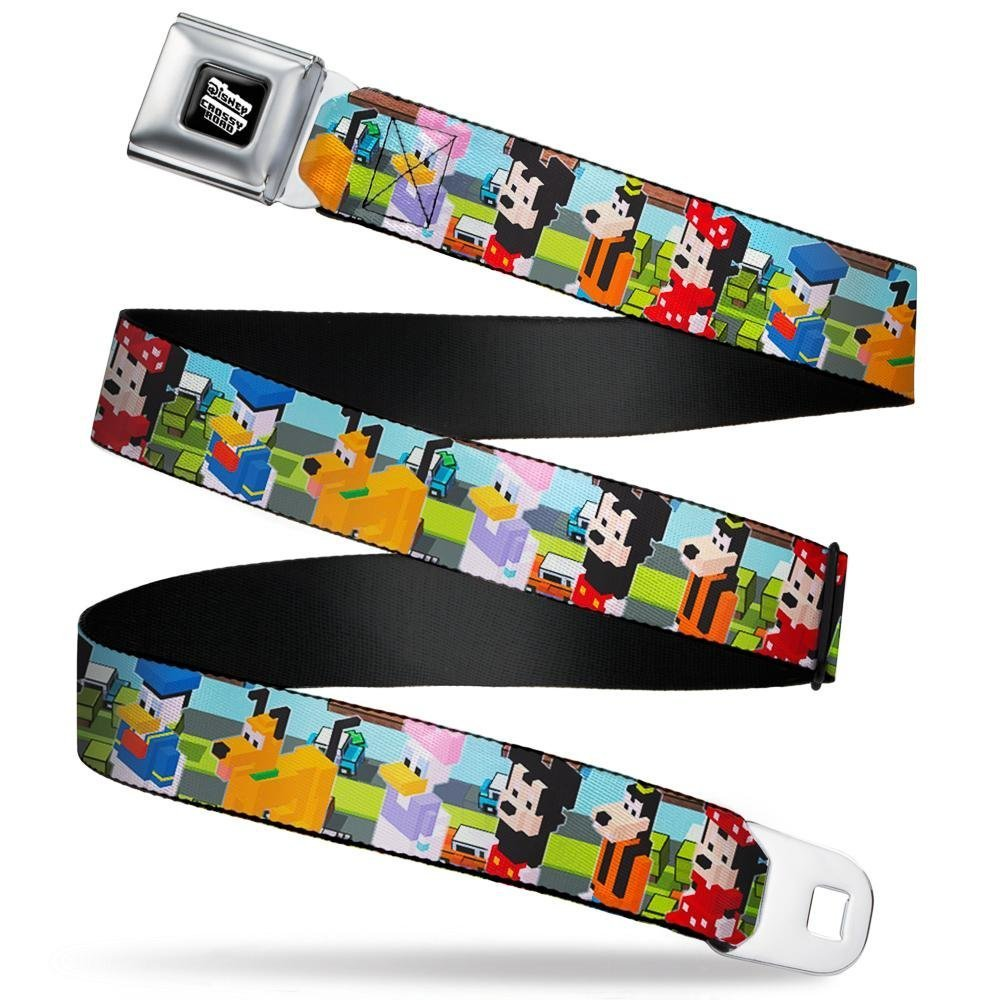 Buckle-Down Mens Seatbelt Belt Crossy Regular Cross dye Standard Disney Character Poses//Road Scene 1.5 Wide-24-38 Inches