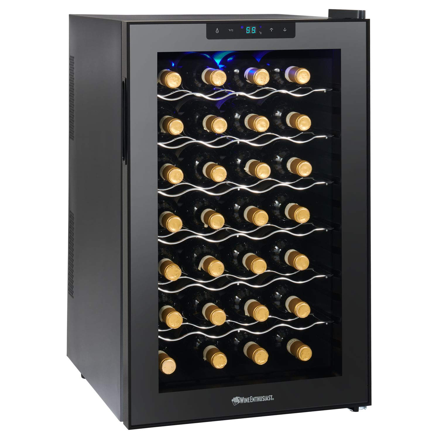 Wine Enthusiast Silent 28 Bottle Wine Refrigerator - Freestanding Touchscreen Wine Cooler, Black by Wine Enthusiast