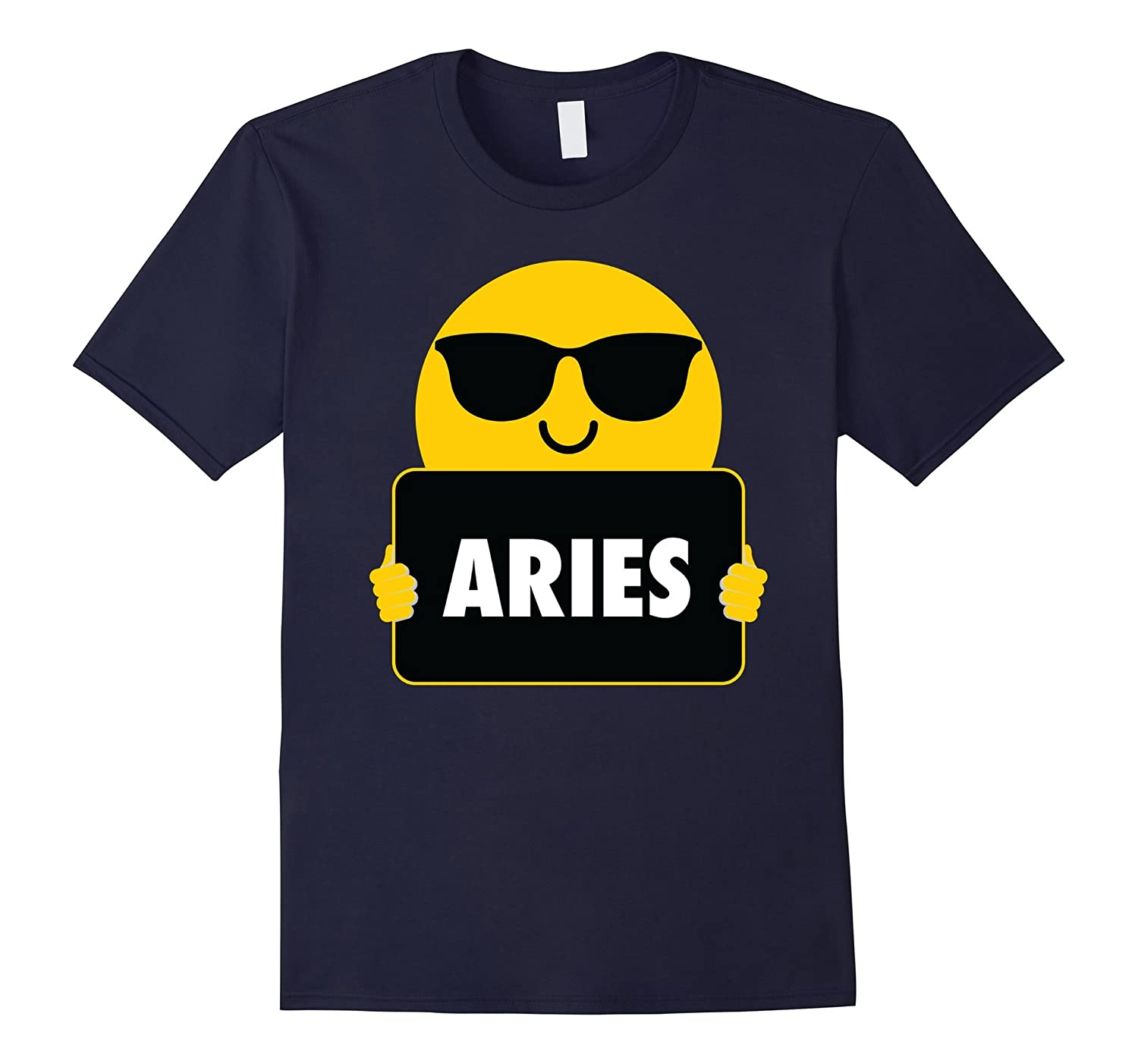 Aries Emoji Sunglasses Shirt T-Shirt Horoscope Tee-FL