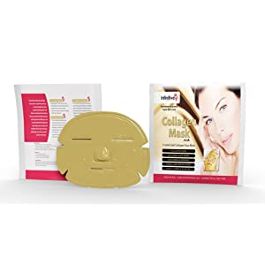 5 x New Infinitive Beauty Crystal 24K Gold Powder Gel Collagen Face Mask Masks Sheet Patch, Anti Ageing Aging, Skincare, Anti Wrinkle, Moisturising, Moisture, Hydrating, Uplifting, Whitening, Remove Blemishes & Blackheads Product. Firmer, Smoother, Tone, v