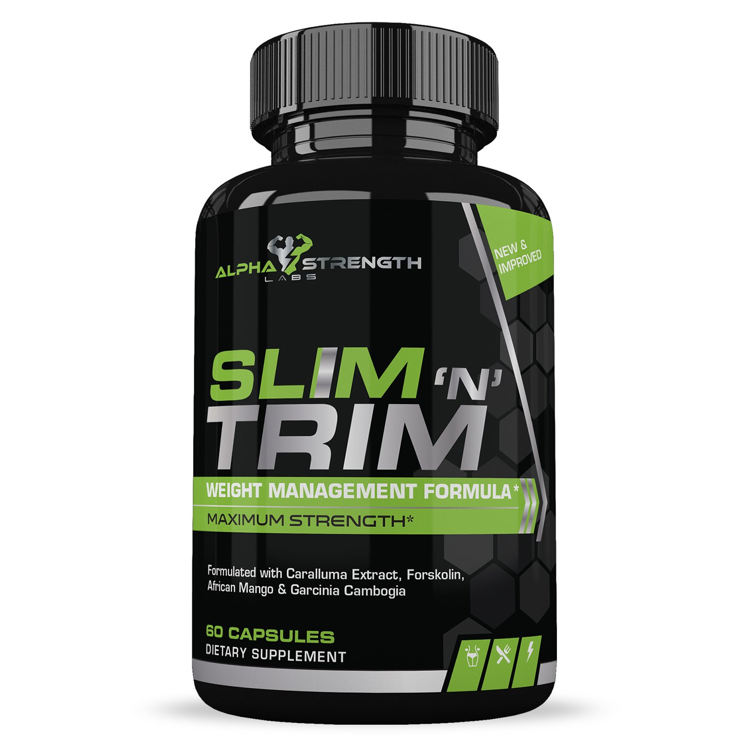 Alpha Strength Labs Weight Loss Pills That Work for Women and Men - Natural Appetite Suppressant & Carb Blocker for Fat Burning with Garcinia Cambogia, Forskolin, Mango & Caralluma - 60 Caplets