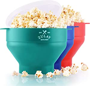 Zulay Kitchen Collapsible Silicone Popcorn Maker - BPA Free Silicone Popcorn Bowl Microwave - Collapsible Bowl, Quick & Easy Popcorn Popper (Aqua)