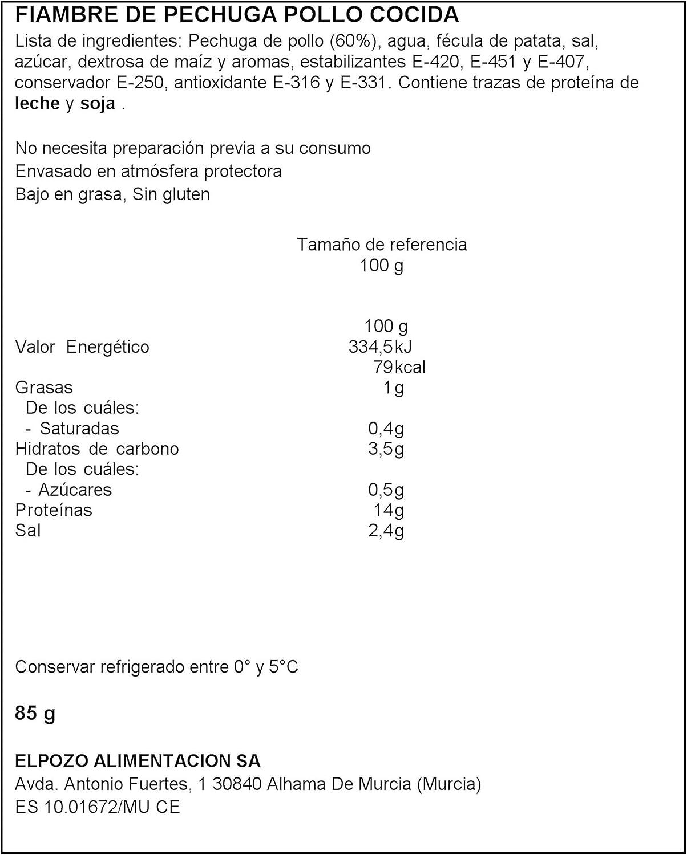 ElPozo Pechuga de Pollo Lonchas Finas, 85g: Amazon.es ...
