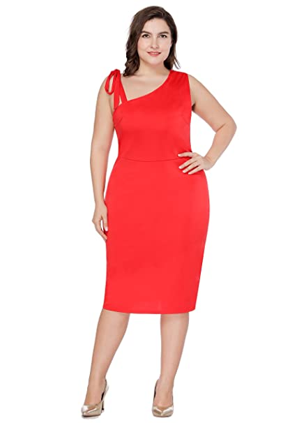e99862a1fb183 Women's Plus Size Sexy One Shoulder Sleeveless Tie Bowknot Prom Evening  Party Bodycon Dress at Amazon Women's Clothing store: