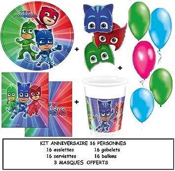 Magnífico kit de fiesta de cumpleaños de fiesta PJ MASKS para 16 personas + 3 máscaras