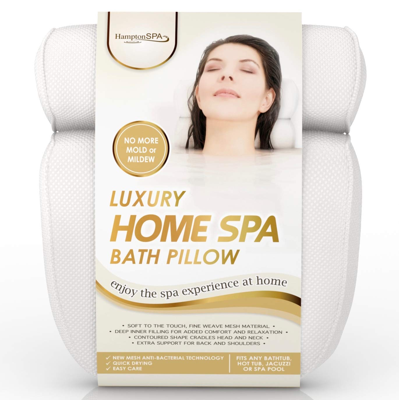 Hampton SPA Luxury Home Spa Bath Pillow. Deep Cushions Cradle Head and Neck, Hug Shoulders, Optimise Back Support, Ensure Comfort. Pure Indulgence