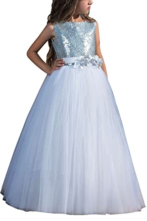 Carat Sequin Lace Flower Girl Long Dress Princess Sleeveless Tulle Party Ball Prom Gown White Size