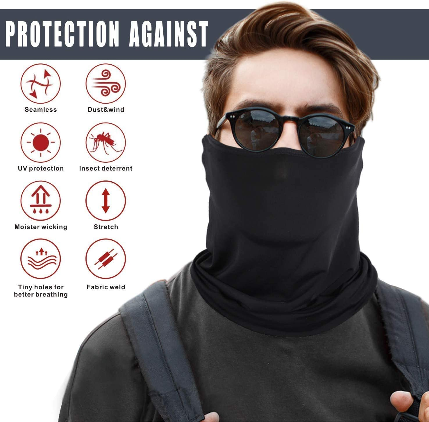 XRTJ Face Mask Scarf Cycling Outdoor Motorcycle Neck Gaiter Bandana UV Protection Breathable Neck Tube Balaclava for Cycling Hiking Motorbikes Running Ski Snowboard BK+BL+GY+GN