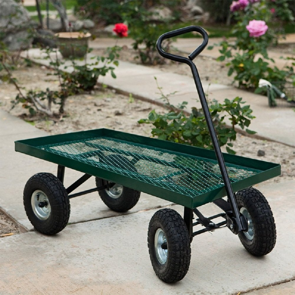 10'' 1000Lbs Wheelbarrow Outdoor Garden Wagon Nursery Cart Pneumatic Tires Holds