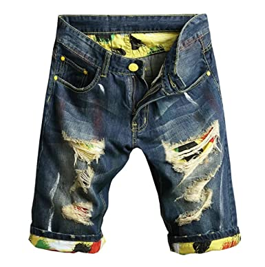 a58f2a7100 EMAOR Mens Fashion Denim Ripped Holes Bleached Jeans Shorts at Amazon Men's  Clothing store: