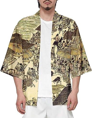 Camiseta de Hombre Cárdigan Casual Estampado Suelto | Chaqueta Kimono Japonesa Top de Manga Corta Camisa, DS001, XXXL: Amazon.es: Ropa y accesorios