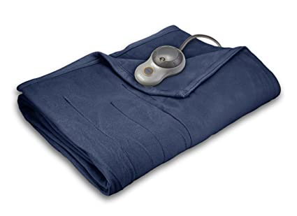 Sunbeam Heated Blanket | 10 Heat Settings, Quilted Fleece, Newport Blue, Twin