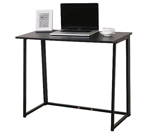 Cherry Tree Furniture Compact Folding Computer Desk Laptop Desktop Table in Black