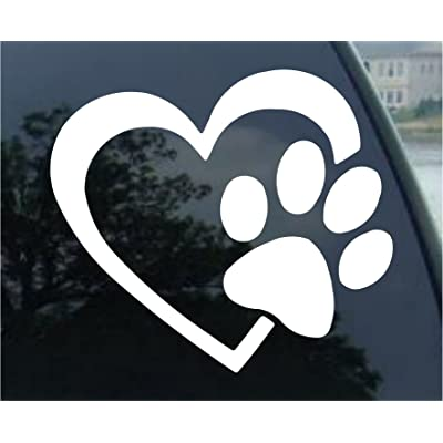 "HEART with DOG PAW Puppy Love 8"" (color: WHITE) Vinyl Decal Window Sticker for Cars, Trucks, Windows, Walls, Laptops, and other stuff.: Automotive"