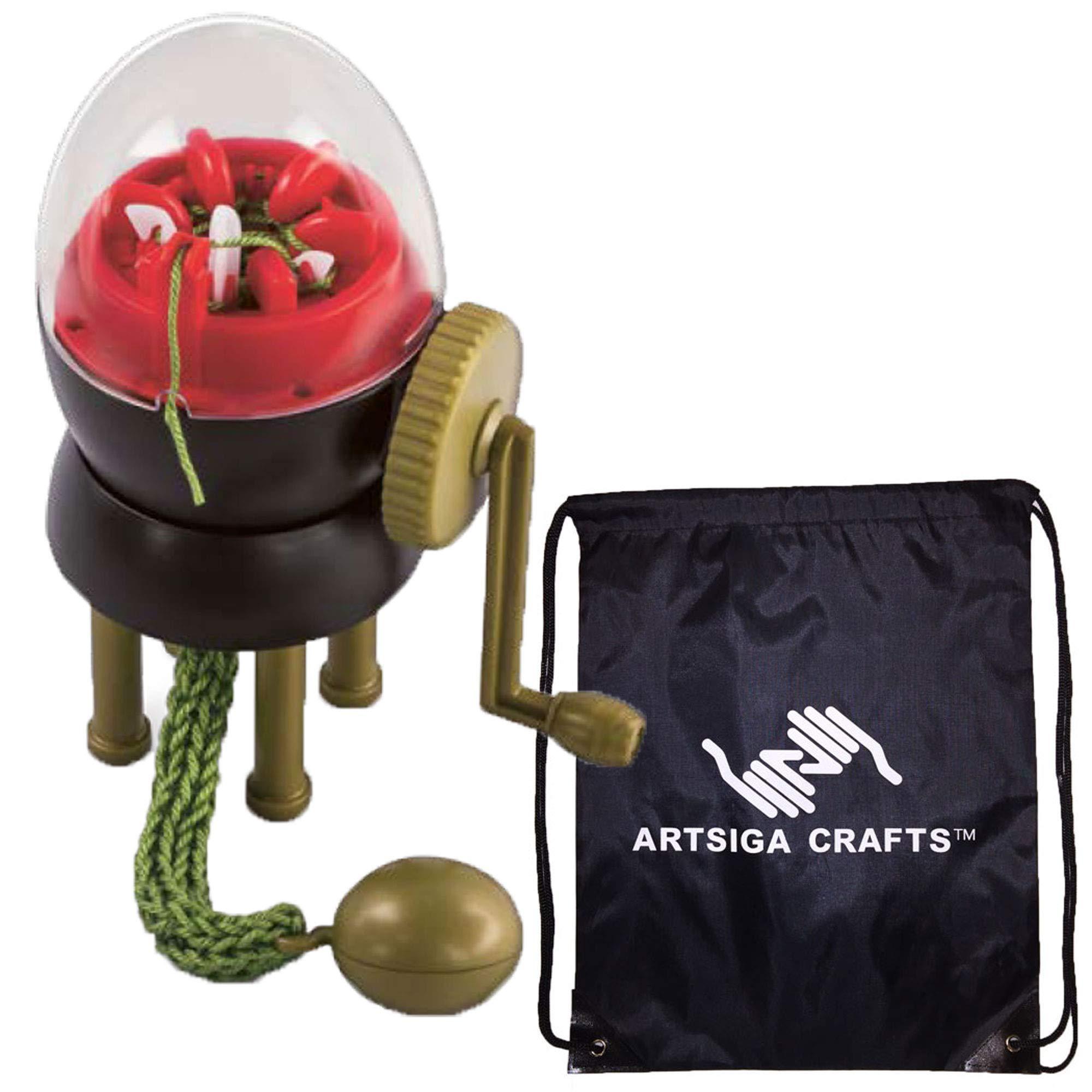 addi Knitting Needles Egg Ei Knitting Machine Bundle with 1 Artsiga Crafts Project Bag