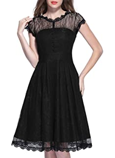 Miusol Womens Retro Floral Lace Cap Sleeve Cocktail Party Swing Dress