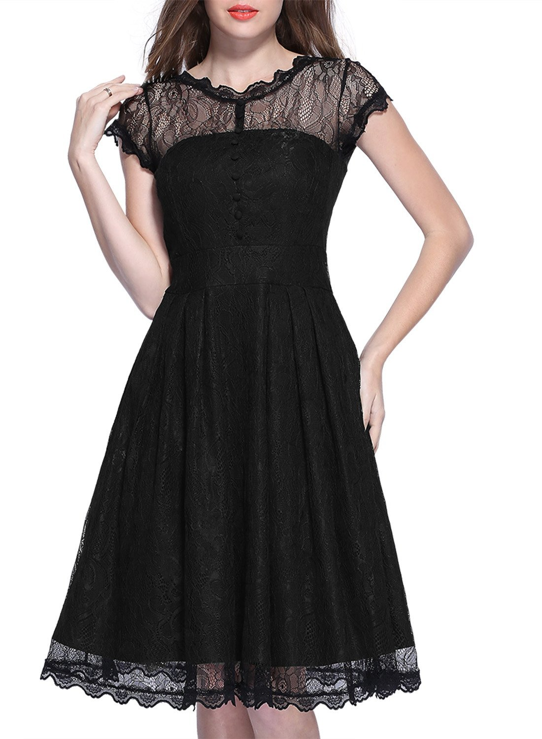 Miusol Womens Retro Floral Lace Cap Sleeve Vintage Swing Bridesmaid Dress, XX-Large, Black