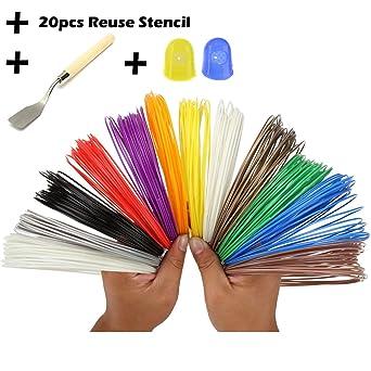 3d pen filamento Refills- Bouns 20 reutilización plástico papel stencil-3d plantillas ebook-