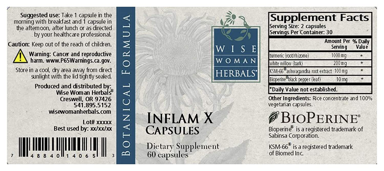 Wise Woman Herbals Inflam X 60 Capsules Turmeric Curcumin and BioPerine Supports Normal Response to Inflammation, Promotes Recovery, Reduces Muscle Soreness and Tension, Health Supplement