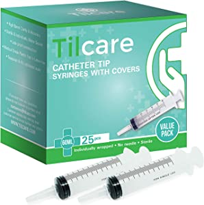60ml Catheter Tip Syringe with Covers 25 Pack by Tilcare - Sterile Plastic Medicine Food Droppers for Children, Pets or Adults – Latex-Free Oral Medication Dispenser - Large Feeding Tube Syringes