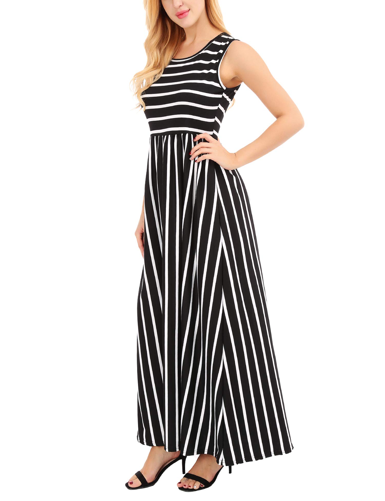 478ddb36b36 FISOUL Women s Summer Striped Print Dress Tank Long Maxi Dresses for Women  Black M