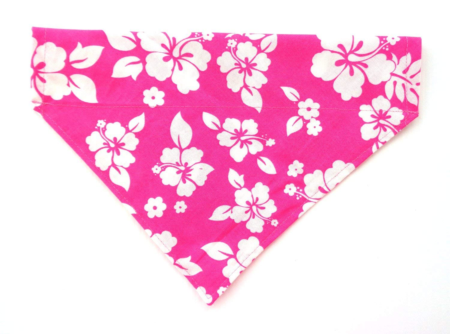 Pink Hawaiian Print in White Hibiscus Flowers Prints Dog Bandanna, Over the Collar Slip Thru Thread Through Pet Bib Doo Rag