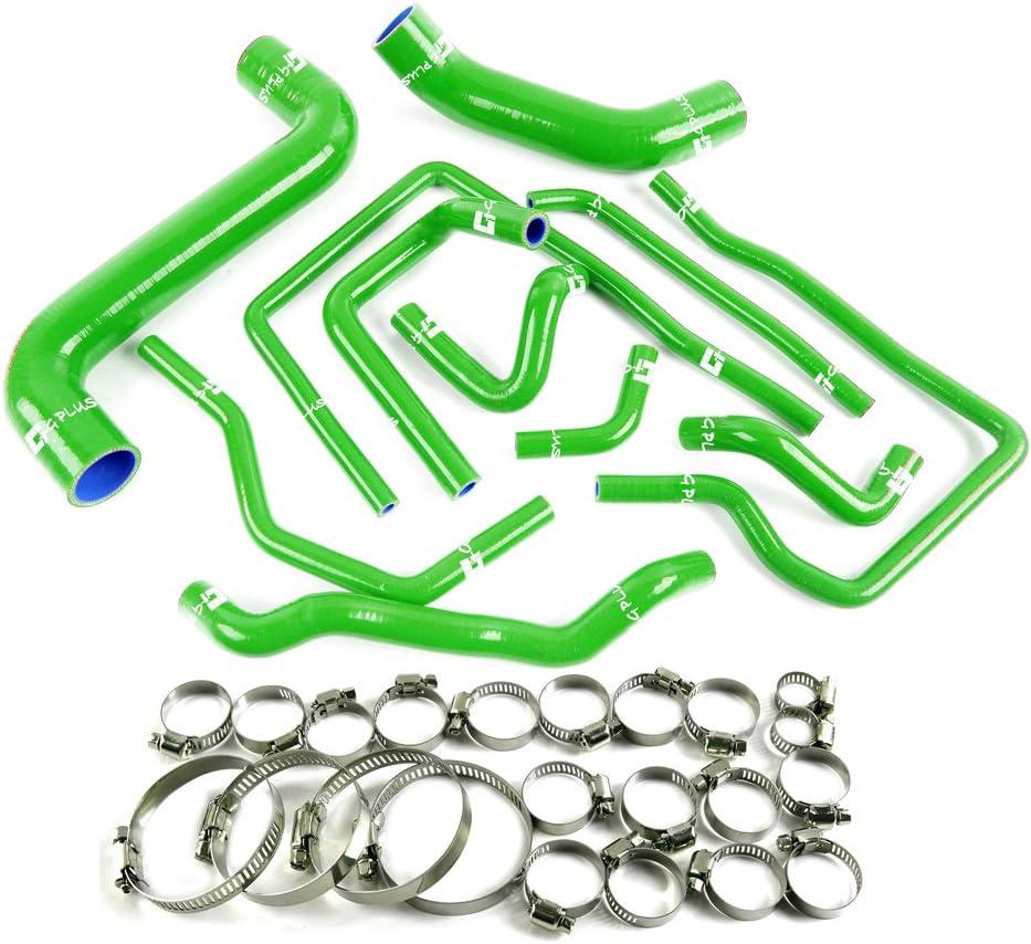 Silicone Radiator Hose Pipe Kit Clamps For Subaru Impreza GDA GDB STI EJ20 S204 S205 Green