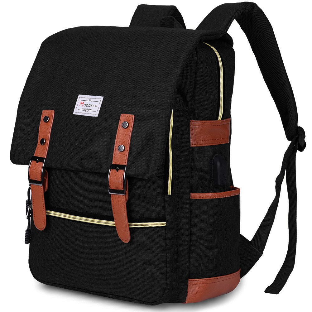 Modoker Vintage Laptop Backpack for Women Men,School College Backpack with USB Charging Port Fashion Backpack Fits 15 inch Notebook (Black) by Modoker