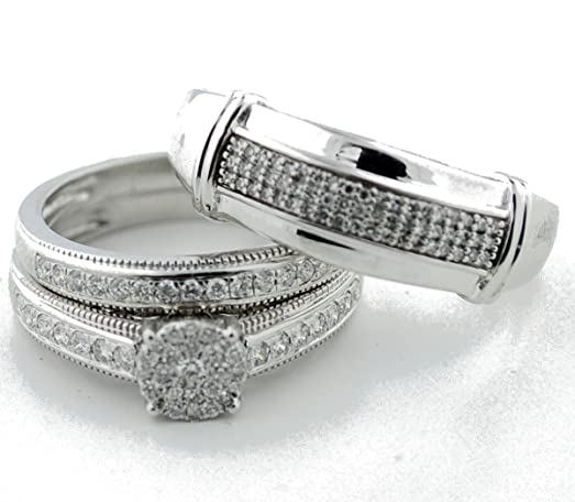 Amazoncom White Gold and Diamond Wedding Ring Set His and Her