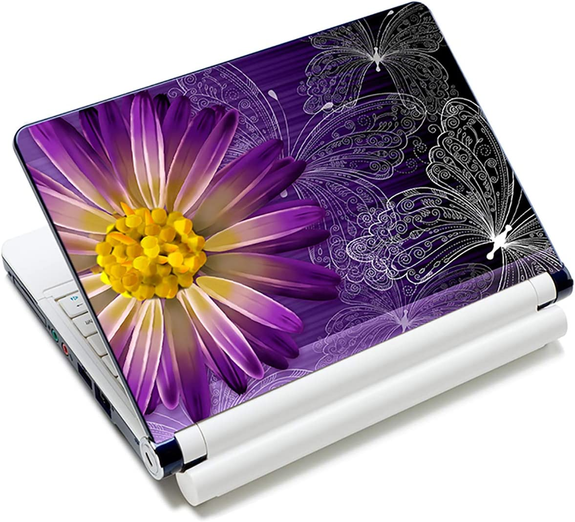 Butterfly & Daisy Flower 12.1 13 13.3 14 15 15.4 15.6 Inches Personalized Laptop Skin Sticker Decal Universal Netbook Skin Sticker Reusable Notebook PC Art Decal Protector Cover Case by AORTDES
