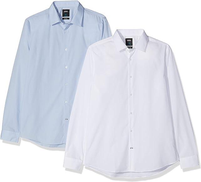 Burton Menswear London Two Pack White and Blue Slim Fit Shirt Camisa de Vestir, Multicolor (Multi 195), 52 (Tamaño Fabricante:XX-Large) 2 para Hombre: Amazon.es: Ropa y accesorios