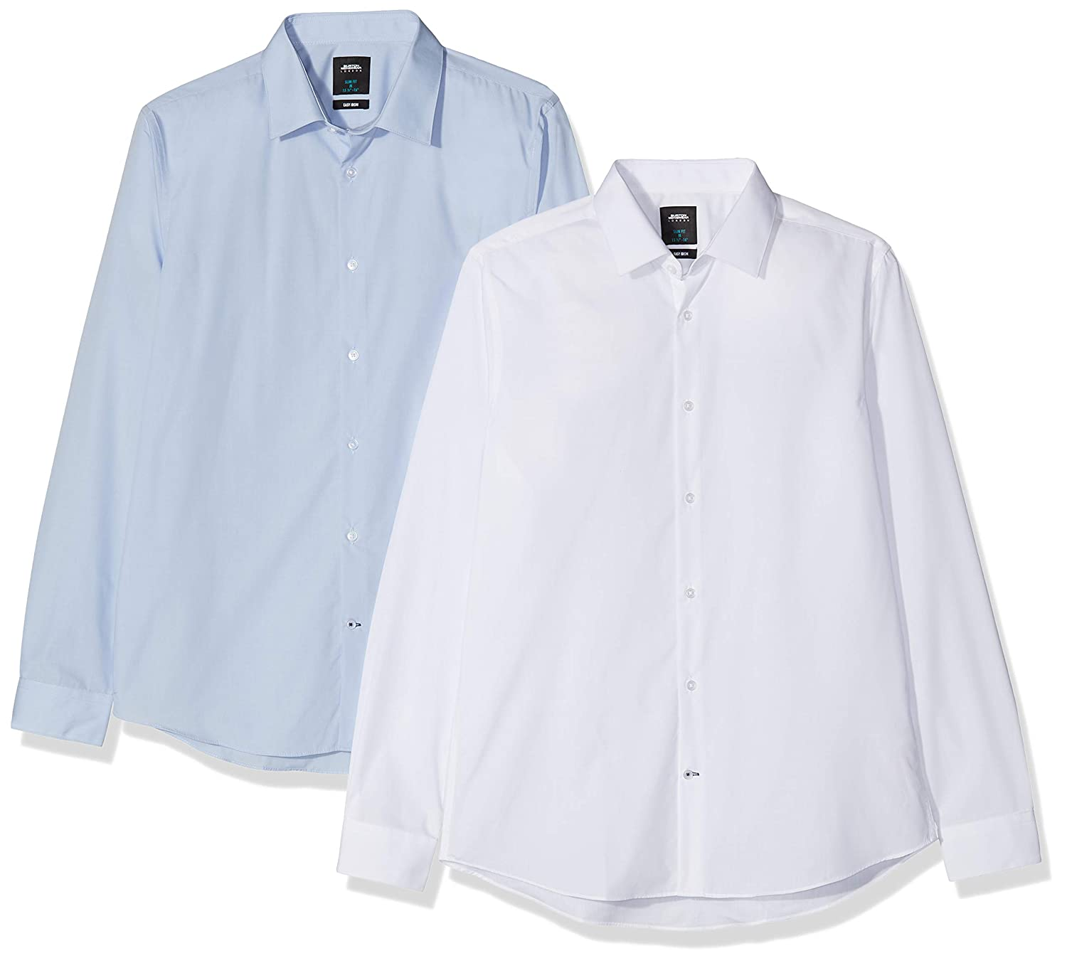 Burton Menswear London Two Pack White and Blue Slim Fit Shirt Camisa de Vestir 2 para Hombre