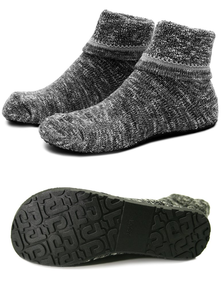 Women Slipper Socks Warm Thick Home Shoes Socks with Soles Rubber Bottom Non Slip Fun Wear (XL(Shoes Size 9.5-11), Thick Black)