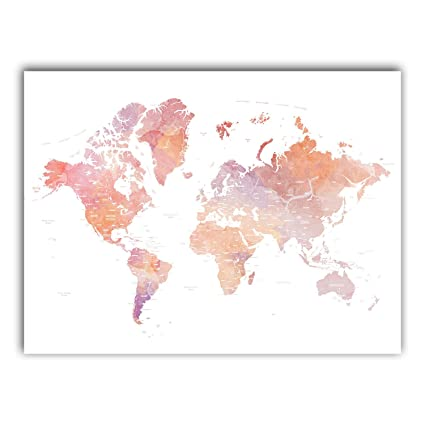 Amazon squareious world map poster detailde country named squareious world map poster detailde country named earth illustration pink color marble continents wall gumiabroncs Image collections