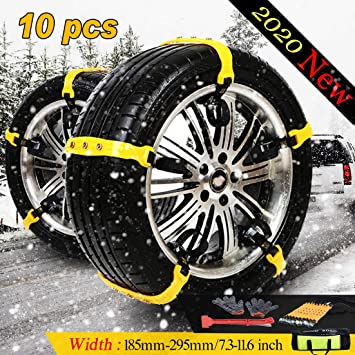 Car Snow Chains for Car Suv Truck,Anti Slip Tire Chain,Adjustable Universal Emergency Thickening Anti Snow Cables,Winter Driving Security Chains,Traction Mud Snow Chains-Fit for Tire Width 185-295mm