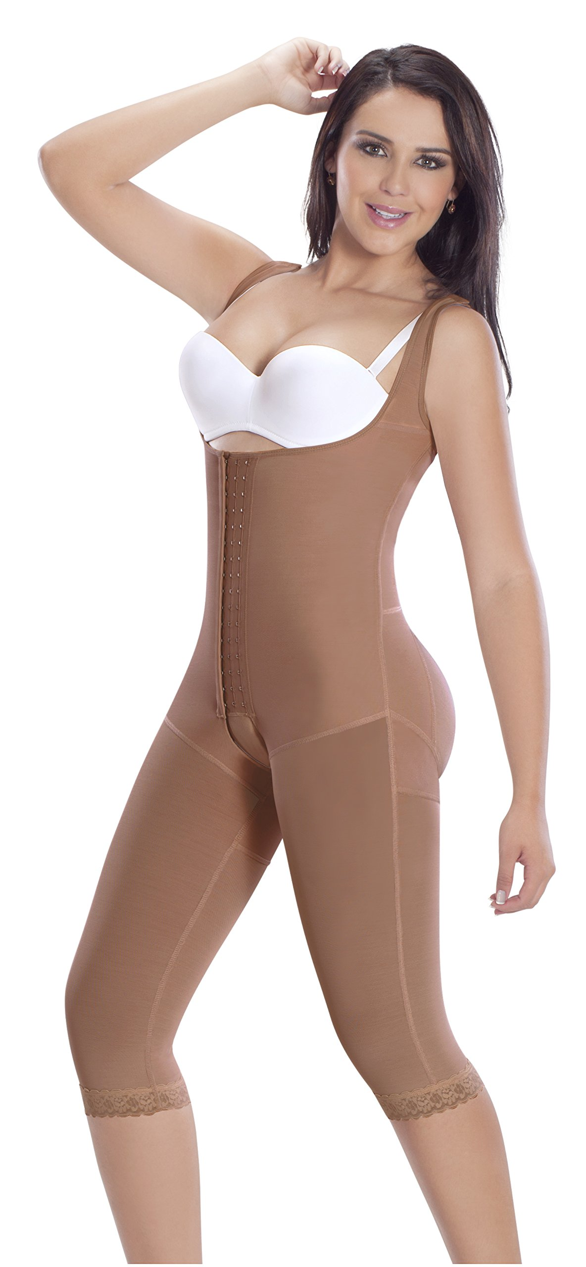 4 Hooks Long Leg Colombian Braless Shapewear Post Surgery Compression Garment Girdle 5057 (MOCCA, XS)