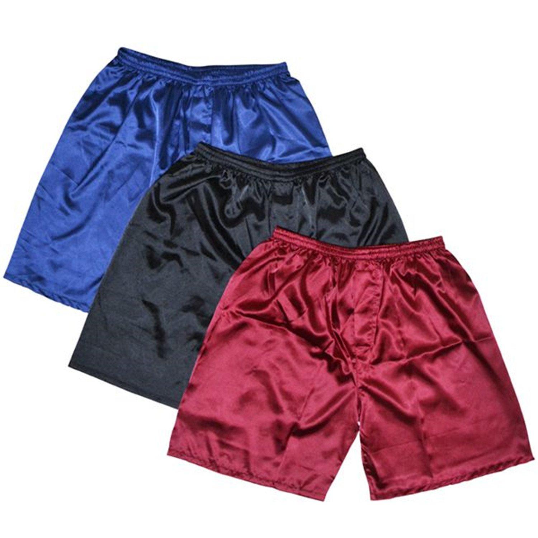 Carolyn Jones 3Pcs//Lot Men Satin Silk Boxers Pajama Shorts Combo Pack Underwear Pajamas
