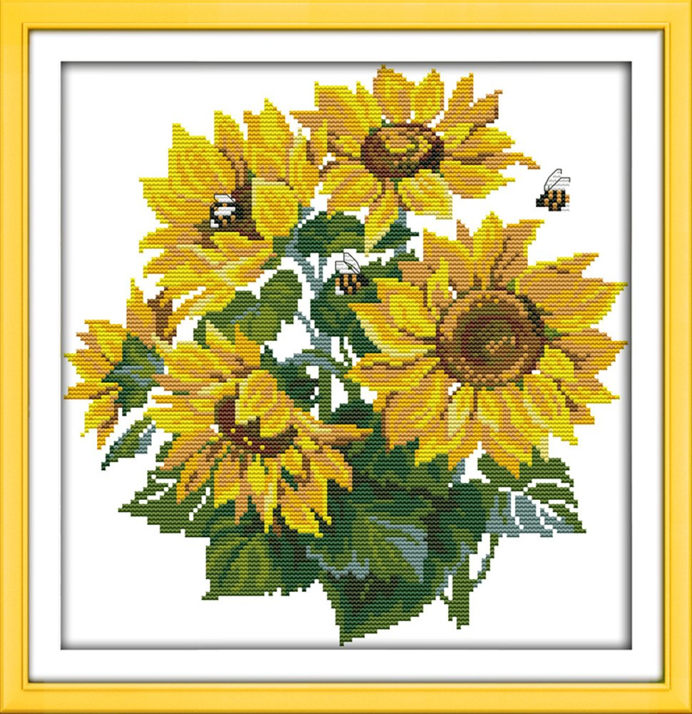 CaptainCrafts New Cross Stitch Kits Patterns Embroidery Kit - Sunflower (STAMPED)
