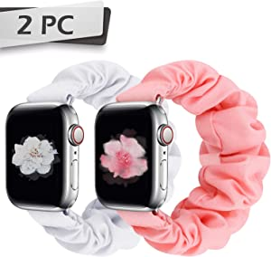 JIELIELE Compatible with Scrunchie Apple Watch Band 38mm 40mm 42mm 44mm for Women, Cute Fabric Wristbands Straps Elastic Scrunchy Band for iWatch Series 6 5 4 3 2 1 SE (S-38/40 P+W)