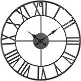 Horloge pendule murale en métal style vintage - diamètre 40 cm - Coloris gris metal