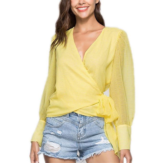 Camisa de Blusa a Cuadros de Corbata Amarilla Camisa de Mujer de Rejilla con Cuello en v Sexy a Través de Manga Larga Blusa Elegante: Amazon.es: Ropa y ...