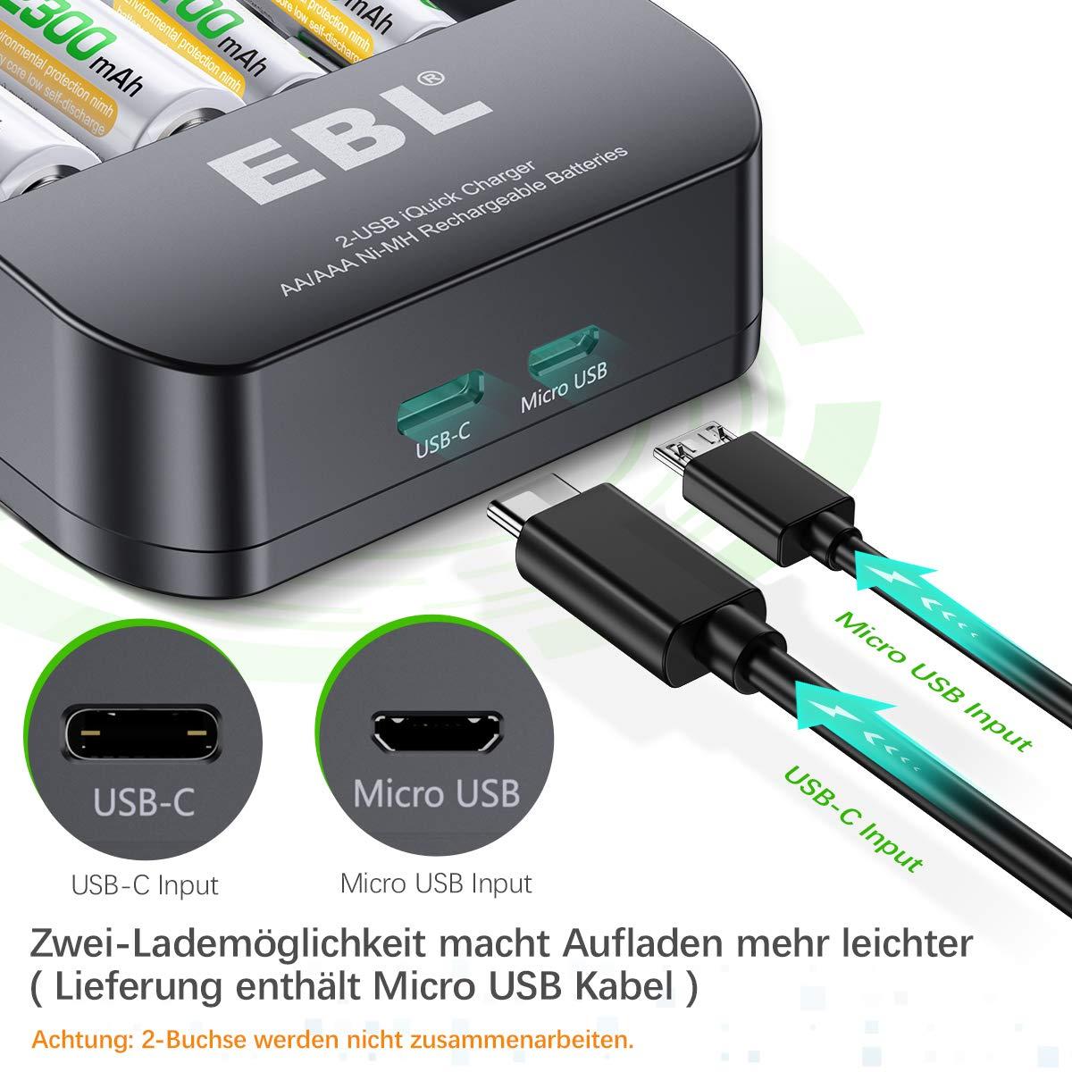 EBL USB Schnell Akku Ladegerät für AA, AAA, NI-MH wierderaufladbare Batterie inkl. 4xMignon AA Akku, 2-USB Port, Schnell Aufladung, tragbar für Unterwegs