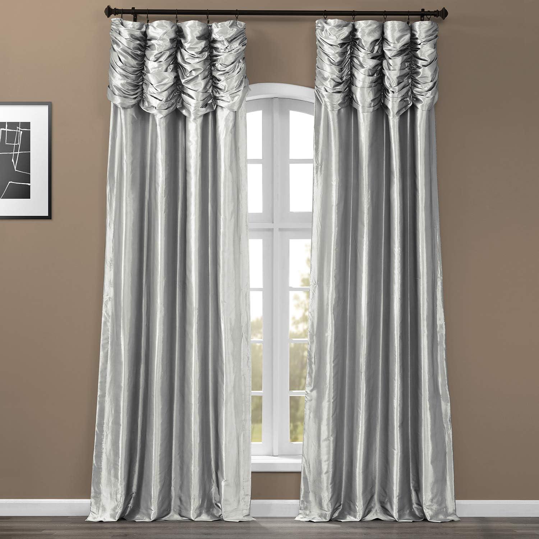 HPD Half Price Drapes PTCH-112-96-RU Ruched Faux Solid Taffeta Curtain (1 Panel), 50 X 96, Platinum