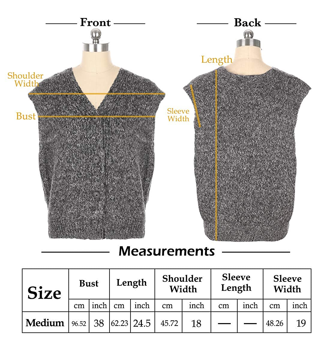 H/&T Women Casual V Neck Sweater Vest Sleeveless Button Down Soft Knit Cardigan One Size