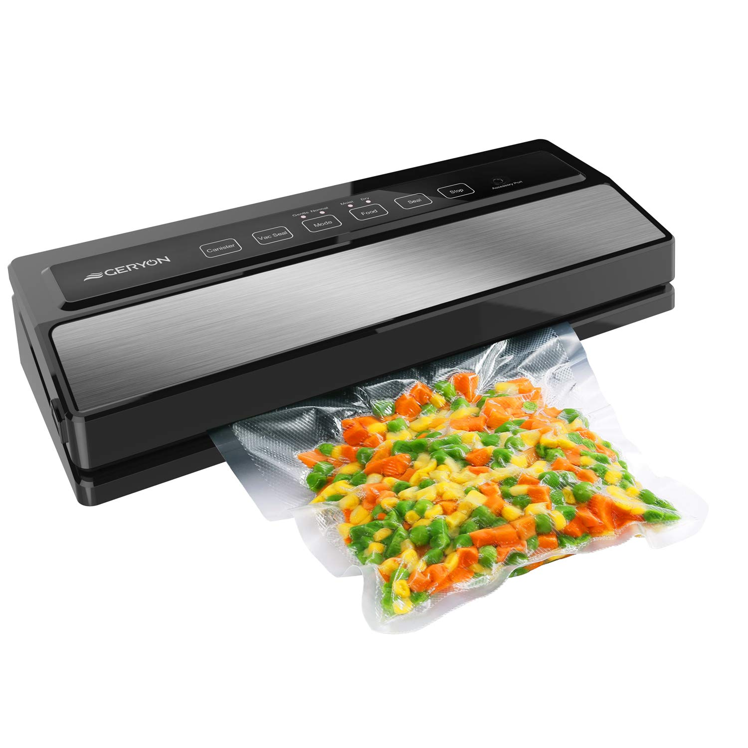 GERYON Vacuum Sealer Machine, Automatic Food Sealer for Food Savers w/Starter Kit|Led Indicator Lights|Easy to Clean|Dry & Moist Food Modes| Compact ...