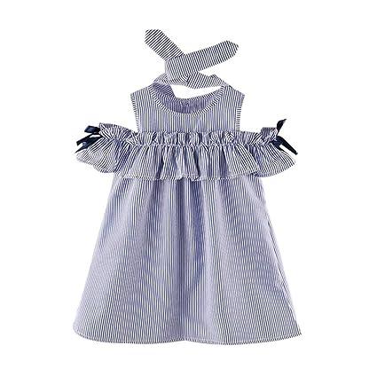 Amlaiworld Conjunto de ropa bebé niña Vestidos a rayas de manga corta de Princesa