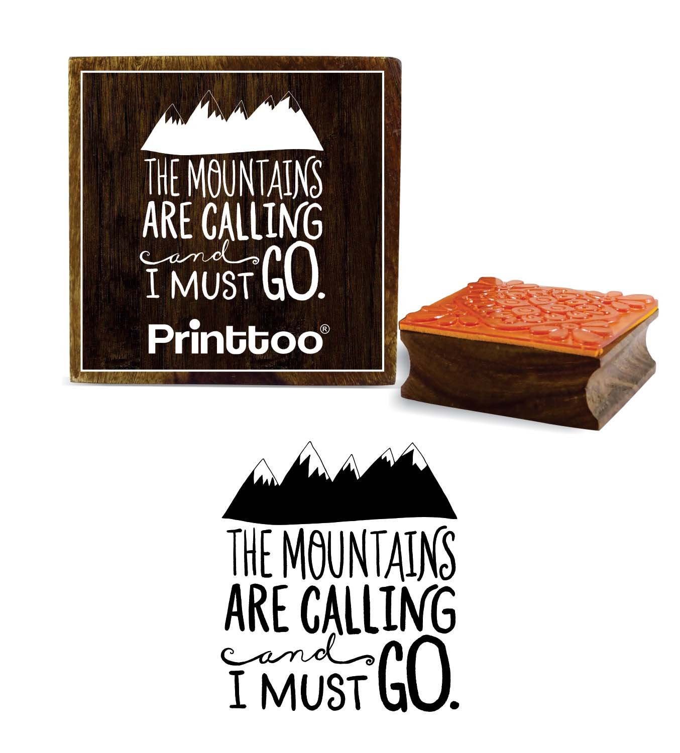 Printtoo The Mountains are Calling and I Must Go Word Design Wooden Rubber Stamp-3 x 3 inches