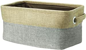 uxcell® Collapsible Fabric Storage Basket w Dual Handles, Foldable Canvas Toy Bins for Laundry Clothes Storage Home Organizer for Bedroom Office, Closet, Kitchen & More (Gray, S)