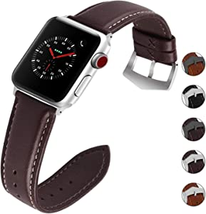 Compatible for Apple Watch Band 38mm 42mm 40mm 44mm for iWatch Series SE/6/5/4/3/2/1, Fullmosa 3 Colors Labu Leather Apple Watch Band/Strap, 38mm Coffee+Silver Hardware