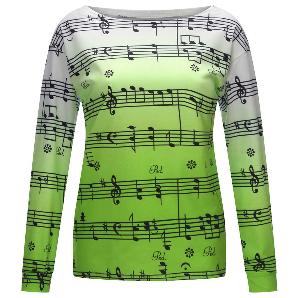 Futurelove Women Casual Hoodies Sweatshirt Tops Two Tone Music Note Print Drawstring Pullover by ★ Futurelove ★